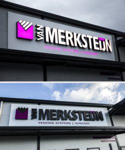 fekete fehér világító dobozbetű felirat van merksteijn